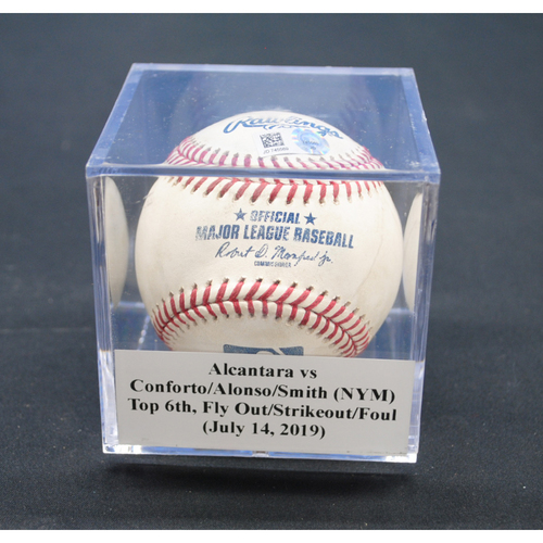 Photo of Game-Used Baseball: Sandy Alcantara vs Michael Conforto/Pete Alonso/Dom Smith (NYM), Top 6th, Fly Out/Strikeout/Foul - July 14, 2019