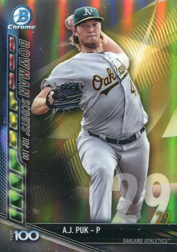 Photo of 2017 Bowman Chrome Scouts Top 100 Refractors #BTP29 A.J. Puk