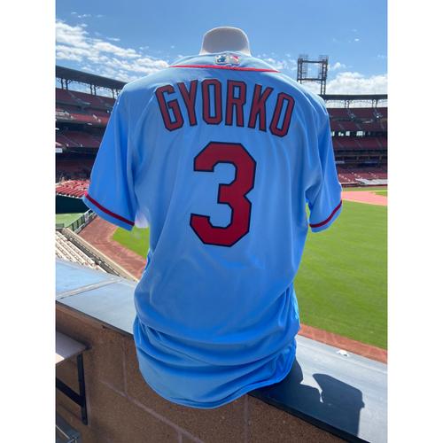 Photo of Cardinals Authentics: Jedd Gyorko Team Issued Road Alternate Blue Jersey