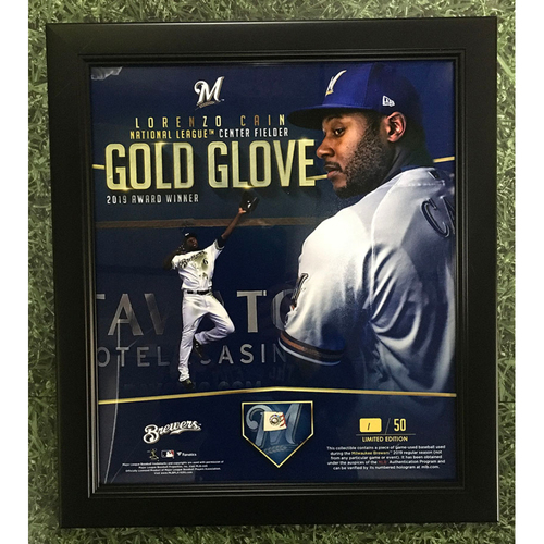 """Photo of Lorenzo Cain 2019 Commemorative """"National League Center Fielder Gold Glove Award"""" Framed Piece with Game-Used Baseball Swatch - Limited Edition #1 / 50"""