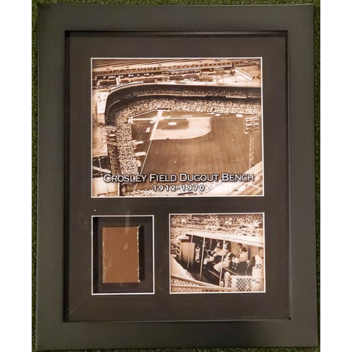 Photo of Framed Piece of Crosley Field Dugout Bench (Number 29 of 150)