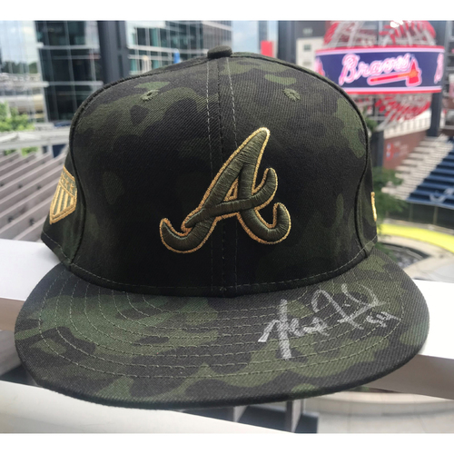 Photo of Max Fried Autographed MLB New Era Memorial Day Camo Cap