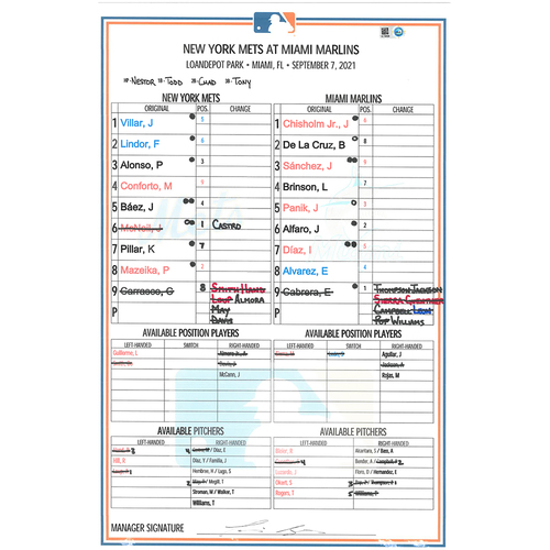 Photo of Game Used Lineup Card - Carrasco 5 IP, 1 ER, 4 K's, Earns 1st Win as a Met; Alonso 2-4, HR (32), 3 RBI's and 2 Runs Scored; Conforto 1-4, 2B, RBI; Mets Win 9-4 - Mets vs. Marlins - 9/7/21