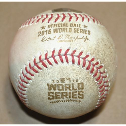 Game-Used Baseball - 2016 World Series Game 6 - Cleveland Indians vs. Chicago Cubs - Batter: Francisco Lindor, Pitcher: Jake Arrieta - Walk, Bot 1