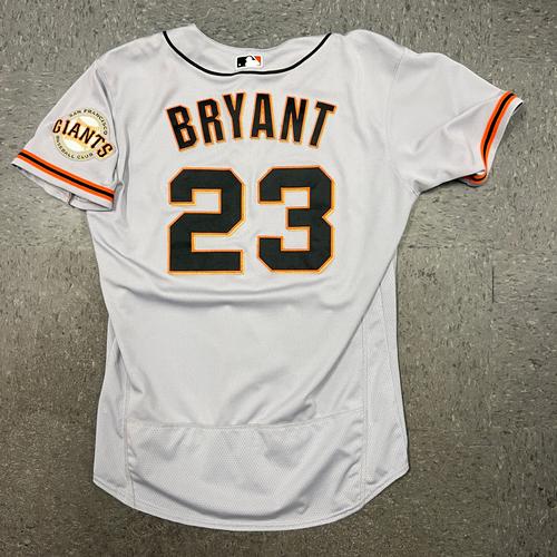 Photo of 2021 Game Used Road Jersey worn by #23 Kris Bryant on 8/2 @ ARI, 8/5 @ ARI , 2 2B & 8/7 @ MIL - 2B - Size 46