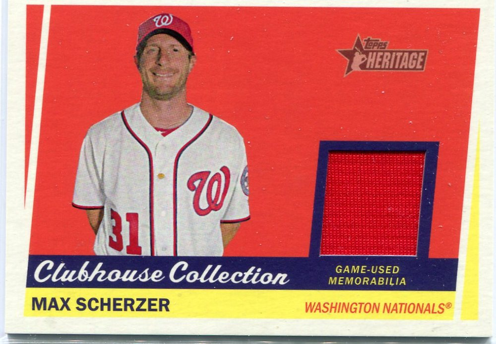 2016 Topps Heritage Clubhouse Collection Relics game worn jersey Max Scherzer