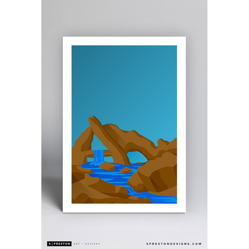 Photo of Angel Stadium Rock Pile - Minimalist Ballpark Art Print by S. Preston  - Los Angeles Angels