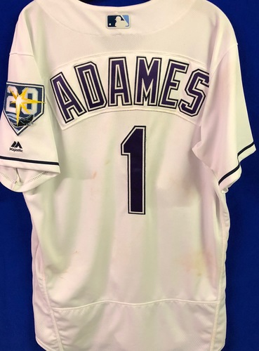 Photo of 20th Anniversary Game Used Devil Rays Jersey: Willy Adames (HR, 4H, 3R, 2RBI) - June 23 v NYY and September 8 v BAL