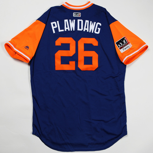"Photo of Kevin ""Plaw Dawg"" Plawecki New York Mets Game-Used Jersey 2018 Players' Weekend Jersey"