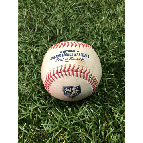 Photo of 20th Anniversary Game Used Baseball: Aaron Judge RBI double off Ryan Yarbrough - September 24, 2018 v NYY
