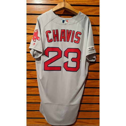 Photo of Michael Chavis #23 Team Issued Road Gray Jersey