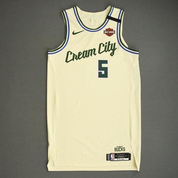 Image of D.J. Wilson - Milwaukee Bucks - Game-Worn City Edition Jersey - Dressed, Did Not Play - 2019-20 NBA Season