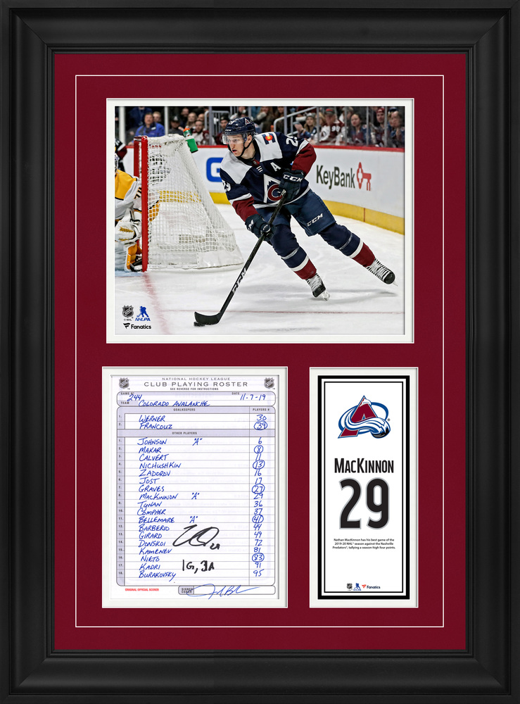 Nathan MacKinnon Colorada Avalanche Framed Autographed Original Line-Up Card from November 7, 2019 vs. Nashville Predators with