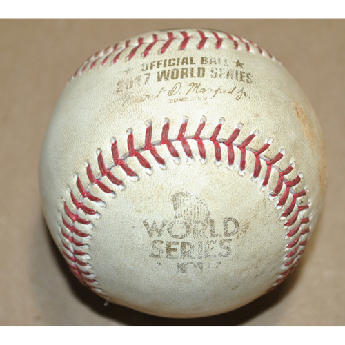 Photo of Game-Used Baseball - 2017 World Series Game 5 - Los Angeles Dodgers vs. Houston Astros - Batters: Justin Turner/Andre Ethier, Pitcher: Joe Musgrove - Lineout to LF/Foul, Top 10