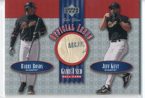 Photo of 2001 Upper Deck Gold Glove Official Issue Game Ball #OIBK Barry Bonds/Jeff Kent