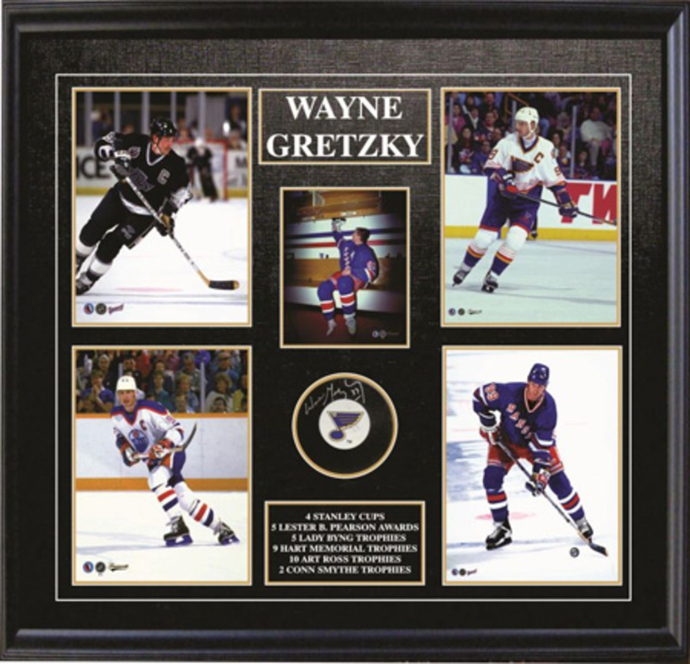 Wayne Gretzky Signed St. Louis Blues Puck with Five Photos