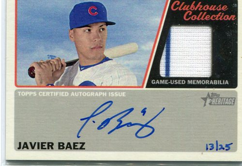 Photo of 2015 Topps Heritage Clubhouse Collection Relic Autographs  Javier Baez 13/25