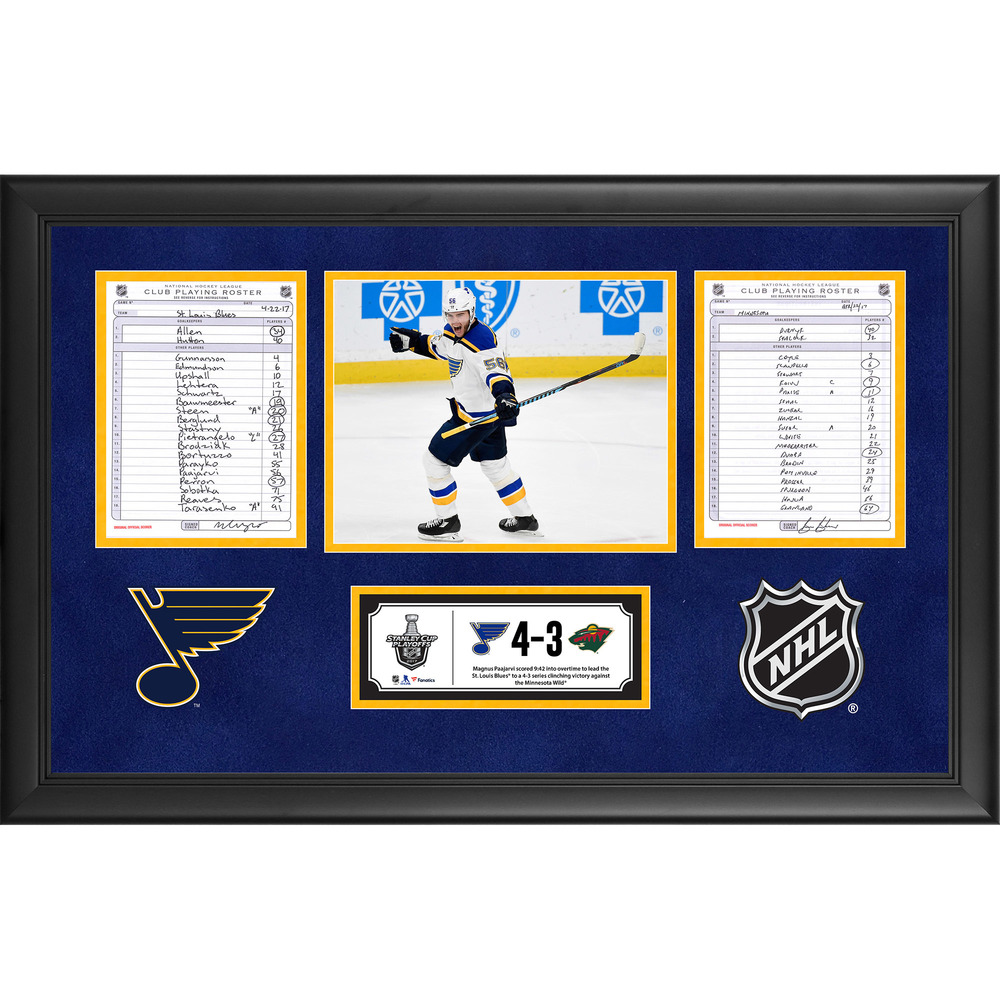 St. Louis Blues Framed Game-Used Playoffs Game 5 Line-Up Cards, April 22, 2017 vs. Minnesota Wild - Blues Series Clinching Victory