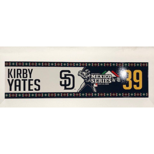 Photo of 2018 Mexico Series - Kirby Yates Game-Used Locker Tag