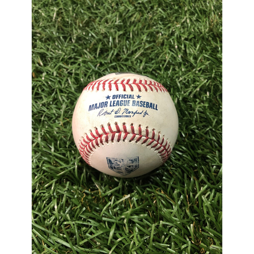 Photo of 20th Anniversary Game Used Baseball: Albert Pujols single off Sergio Romo - July 31, 2018 v LAA