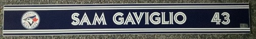 Photo of Authenticated Game Used Locker Name Plate - #43 Sam Gaviglio (Sept 24, 18)