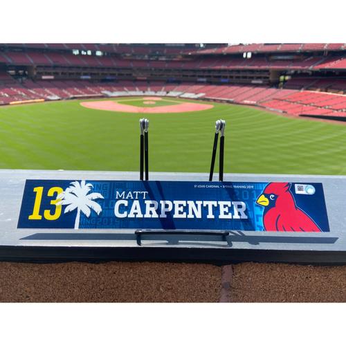 Photo of Cardinals Authentics: Matt Carpenter Game Used Spring Training Locker Tag