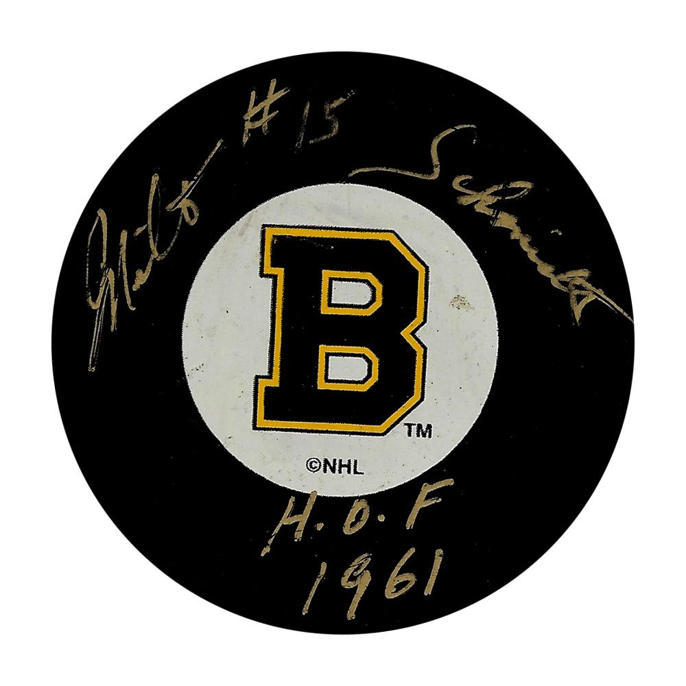 Milt Schmidt Autographed Boston Bruins Puck w/HOF 1961 Inscription