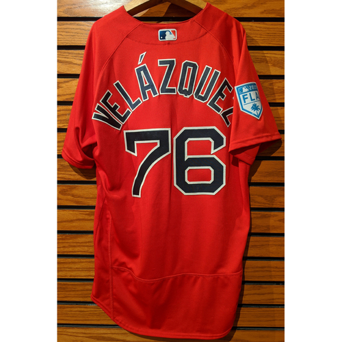 Photo of Hector Velazquez #76 2019 Red Spring Training Team Issued Jersey