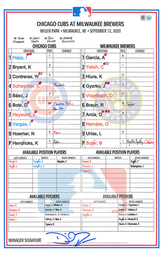Photo of Game-Used Lineup Card -- Hendricks 7.2 IP, 2 ER, 7 K -- Kimbrel 2nd Save -- Heyward Game-Winning 3-Run HR in Top 9th -- Cubs at Brewers -- 9/12/20