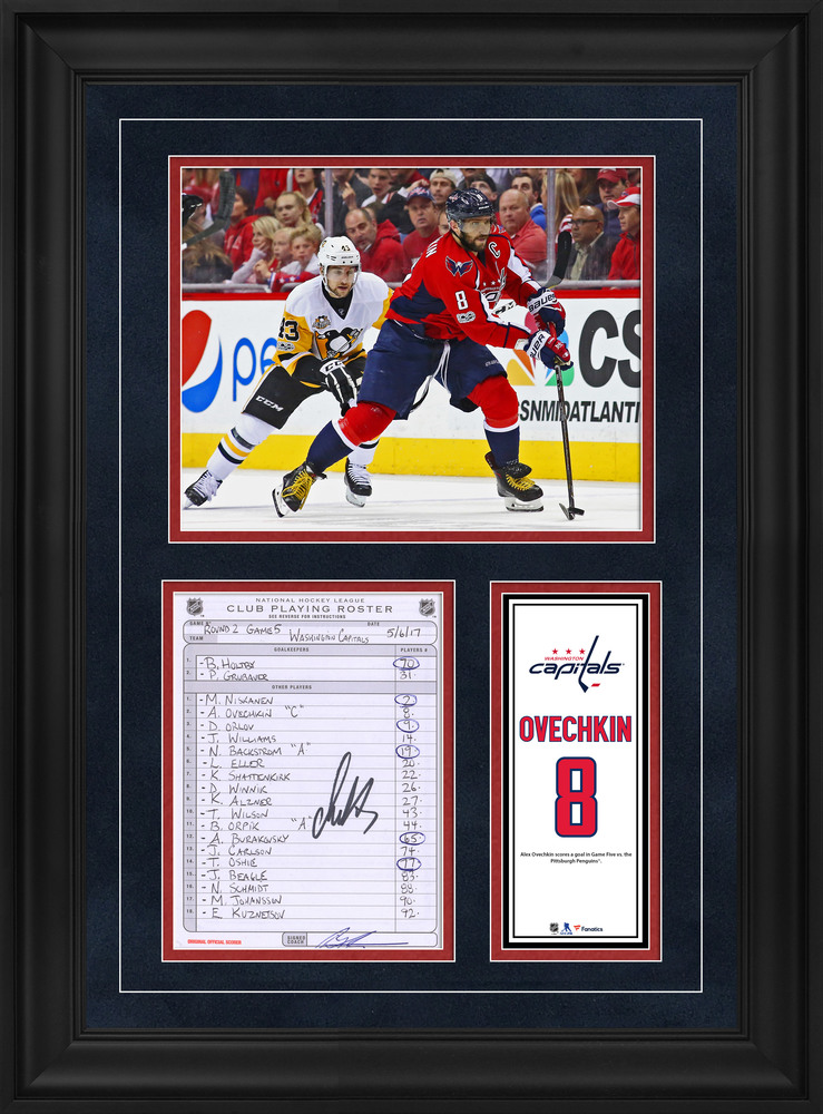 Alex Ovechkin Washington Capitals Framed Autographed Original Line-Up Card from May 16, 2017 vs. Pittsburgh Penguins - Goal in Game Five vs. Pittsburgh Penguins