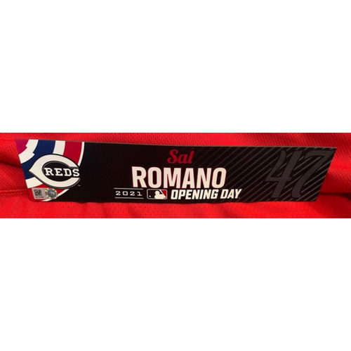 Photo of Sal Romano -- 2021 Opening Day Locker Tag -- Game-Used -- Cardinals vs. Reds on 4/1/21