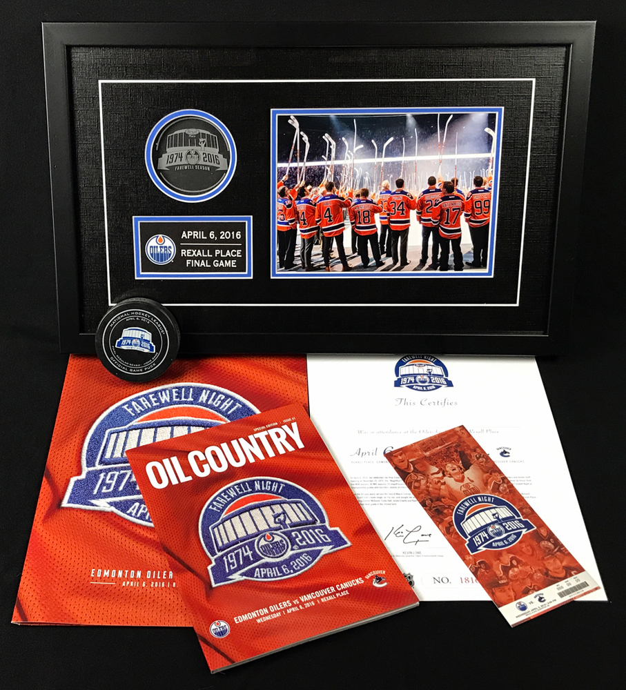 Final Game At Rexall Place Memorabilia Collection Including Framed Piece Of Game Used Plexi-Glass From Final Season, Official Game Puck (Not Game Used), Final Game Program, Commemorative Ticket Stub, And Certificate Of Attendance