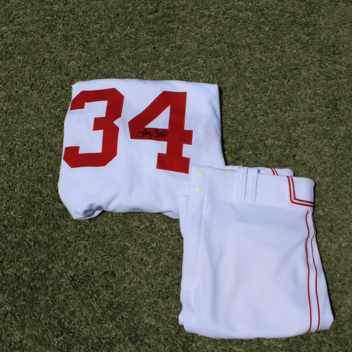 Photo of Game-Used & Autographed Monarchs Jersey & Game-Used Pants: Larry Carter #34 (DET @ KC 5/23/21) - Size 52