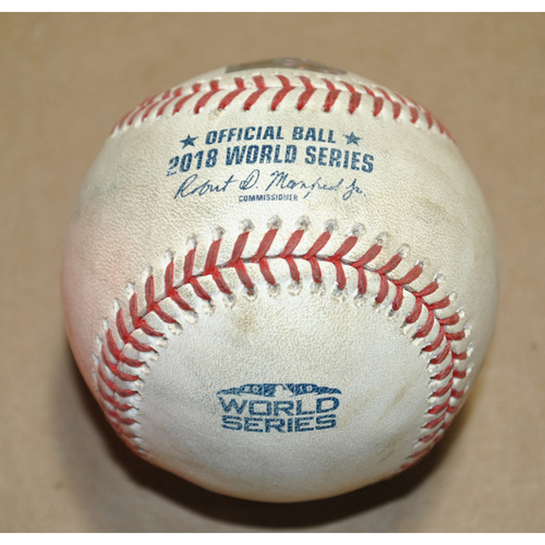 Photo of Game-Used Baseball - 2018 World Series Game 1 - Boston Red Sox vs. Los Angeles Dodgers - Used During the 8th Inning
