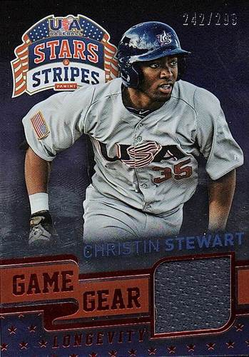Photo of 2015 USA Baseball Stars and Stripes Game Gear Materials Longevity Ruby #21 Christin Stewart/299