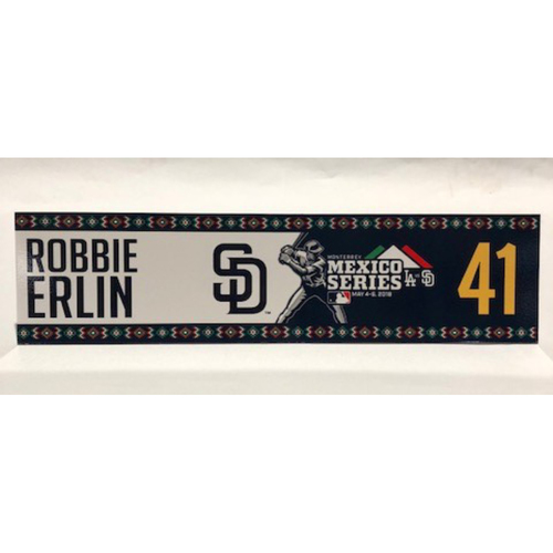 Photo of 2018 Mexico Series - Robbie Erlin Game-Used Locker Tag