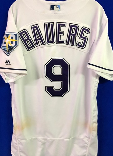 Photo of 20th Anniversary Game Used Devil Rays Jersey: Jake Bauers (H, R, RBI) - September 8 v BAL