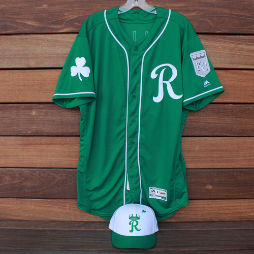 77e3fe3a1 Photo of Game-Used Saint Patrick s Day Jersey and Cap  Brett Phillips (KC