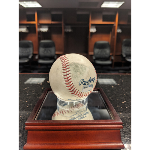 Photo of Player-Collected Baseball - Márquez v Acuña Jr. - Home Run to Center Field - April 9, 2019 - 30th Major League Home Run and 60th Major League Extra-Base Hit
