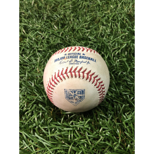 Photo of 20th Anniversary Game Used Baseball: J.D. Martinez single off Jalen Beeks - August 24, 2018 v BOS