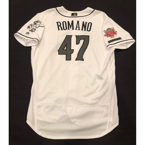 Photo of Sal Romano -- Game-Used Jersey -- Worn for Reds Military Appreciation Days -- Size 48