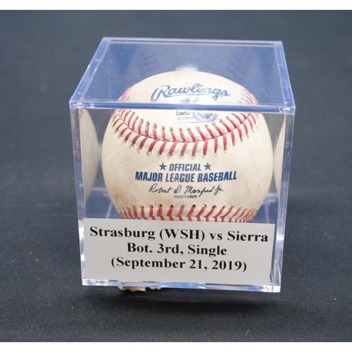 Photo of Game-Used Baseball: Stephen Strasburg (WSH) vs Magneuris Sierra, Bot. 3rd, Single - September 21, 2019