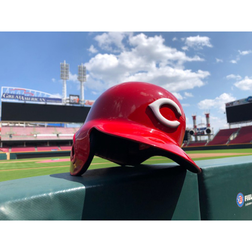 "Photo of Team-Issued Helmet -- ""No. 19"" -- Authentic Reds Batting Helmet -- Size: 7 3/8 -- Right Ear Flap"