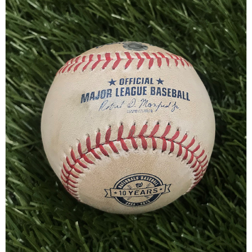 Photo of Game-Used Baseball from June 20, 2015 - Max Scherzer's No-Hitter - Pitcher - Francisco Liriano, Batter - Wilson Ramos Ball in Dirt
