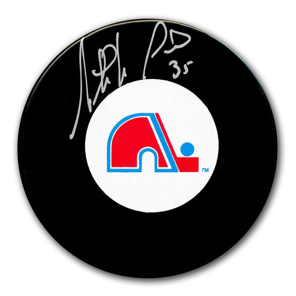 Stephane Fiset Quebec Nordiques Autographed Puck