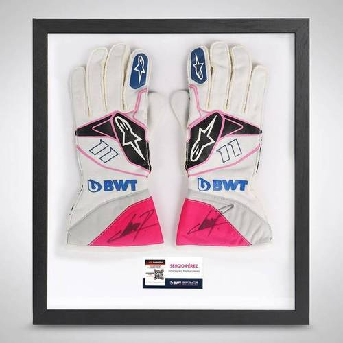 Photo of Sergio Perez 2019 Framed Signed Official Replica Race Gloves