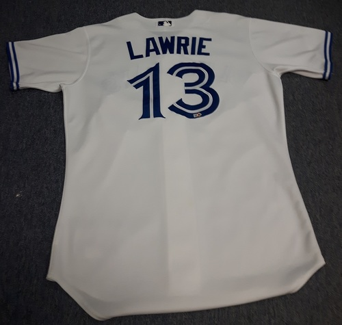 Photo of Authenticated Game Used Jersey - #13 Brett Lawrie (April 10, 2012): 2-for-4 with 1 Run and 1 RBI. Size 46.