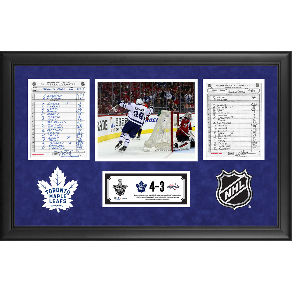 Toronto Maple Leafs Framed Game-Used Playoffs Game 2 Line-Up Cards, April 15, 2017 vs. Washington Capitals - Kasperi Kapanen's First and Second Career Playoffs Goals