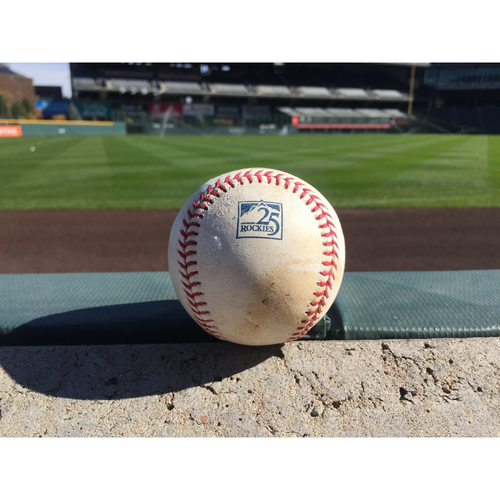 Photo of Colorado Rockies Game-Used Baseball - Walker Buehler v. David Dahl - Foul - September 8, 2018
