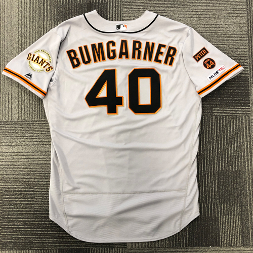 Photo of 2019 Game Used Road Opening Day Jersey worn by #40 Madison Bumgarner on 3/28/19 vs. San Diego Padres - 7.0 IP, 9 K's - SIze 50